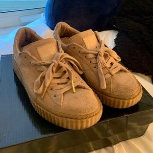 Puma Fenty Oatmeal Suede Creepers shoes